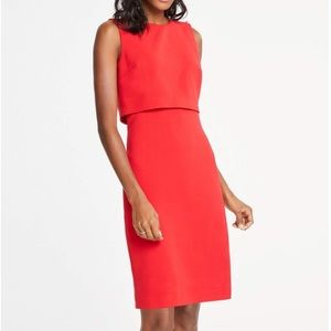 Ann Taylor Sleeveless Red Pearl Layered Dress